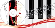 Piano Keys And Compact Disk Stock Photos