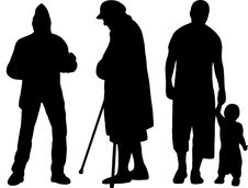 Free Group Of Silhouettes Royalty Free Stock Photo - 19679195