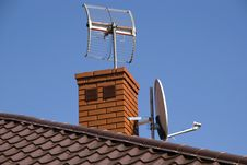 Free Satellite Dish On The Roof Stock Images - 19680584