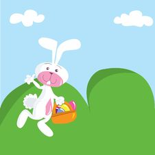 Free Cartoon Easter Bunny With Basket Royalty Free Stock Photo - 19682395