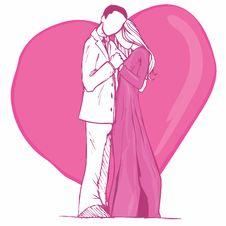 Free Valentines Card Design Of Couple In Pink Stock Photo - 19682400