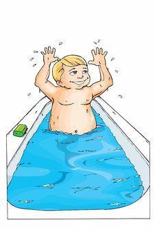 Free Cartoon Of Little Boy In The Bath Royalty Free Stock Image - 19682406