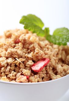 Bowl Of Crunchy Granola Stock Photography