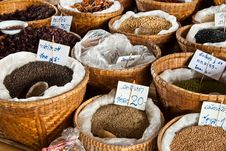 Free Spices And Herbs In Bamboo Basket Royalty Free Stock Image - 19683666