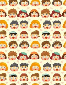 Free Seamless Child Face Pattern Stock Photo - 19684380