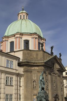 Dome Of St. Francis Of Assisi In Prague Stock Photo