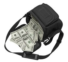 Free Black Bag Full Of Money. Stock Photo - 19686510
