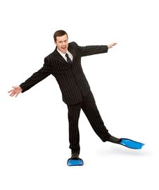 Free Man In A Business Suit And Flippers For Swimming Stock Photo - 19686700