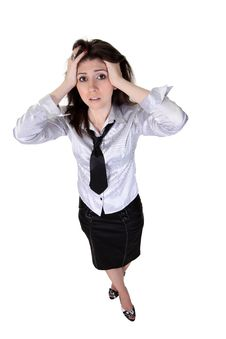 Businesswoman  Take Up The Head Stock Photography