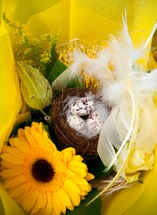 Free Spring Flowers With Easter Eggs  . Stock Photo - 19687640
