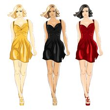 Vector Set Of Dress Black, Red And Gold Colors Stock Photos