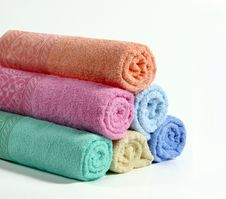 Free Colorful Bath Towels On Royalty Free Stock Photography - 19689647