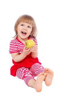 Free Little Girl Eating An Apple Royalty Free Stock Photo - 19689915