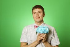 Free Lover Man Nerd With A Bouquet Of Flowers Stock Images - 19689964