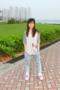 Free Stylish And Happy Asian Girl Outdoor Stock Photography - 19693062