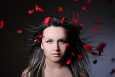 Woman And Flying Leaves Of Red Roses Royalty Free Stock Photos