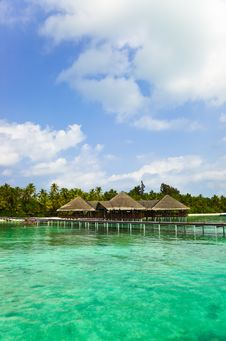 Free Water Cafe On A Tropical Beach At Maldives Royalty Free Stock Image - 19691106