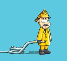 Free Fireman Holding Hose Stock Images - 19691364