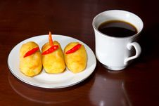 Free Croquettes Cakes And Coffee. Royalty Free Stock Images - 19691419