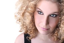 Free Young Woman With Blonde Curly Hair Stock Images - 19691444