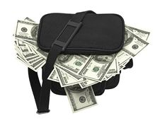 Free Black Bag Full Of Money. Stock Images - 19691924