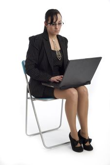 Free Young Business Woman Isolated Against White Royalty Free Stock Image - 19692246