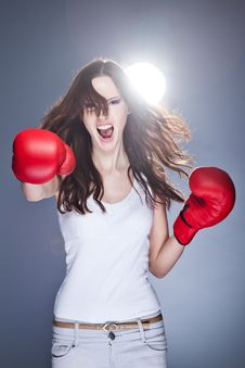 Free Boxing Woman Royalty Free Stock Image - 19692906