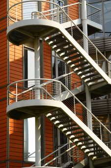 Free Steel Staircases, Windows And Red Walls Royalty Free Stock Image - 19692996