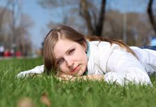 Free Young Woman In Spring Park Stock Image - 19693791