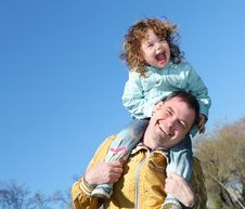 Free Litlle Girl With Father In The Park Royalty Free Stock Image - 19693796