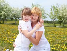 Free Girl With Mother In Spring Park Stock Photos - 19693813