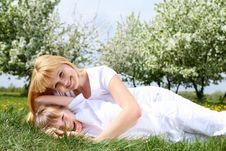 Free Girl With Mother In Spring Park Stock Image - 19693821