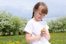 Little Girl In Spring Park Royalty Free Stock Photo