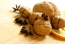 Free Walnuts On Wooden Royalty Free Stock Images - 19694139