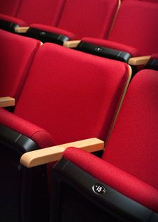 Free Empty Red Bench Thirteen Of The Theater Royalty Free Stock Image - 19694156
