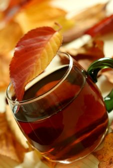 Winter Drink And Autumn Leafs Stock Photography