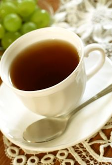 Free Cup Of Tea And Grapes Stock Photos - 19694463