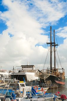 Yachts And Fishing Boats At Pier Stock Photography