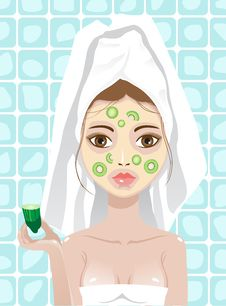 Free Girl With Cucumber And Kiwi Facemask Royalty Free Stock Photography - 19694967