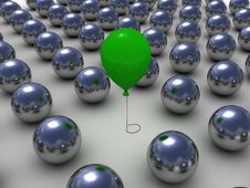 Free Green Balloon Among The Metallic Balls Stock Image - 19695721