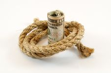 Free Dollars With Rope Stock Image - 19696061