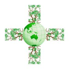 Free Cross-shaped With Trees And Earth Royalty Free Stock Photo - 19696975