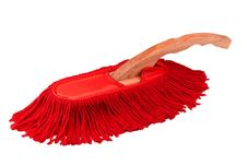 Free Red Duster Cleaner Brush Isolated Stock Photography - 19697132