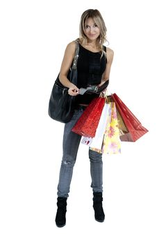 Free Sexy Blond Woman With Shopping Bags Royalty Free Stock Image - 19698856