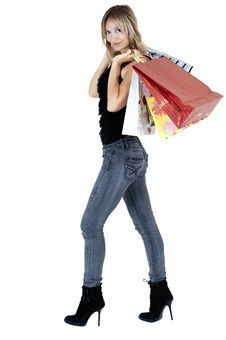 Free Sexy Blond Woman With Shopping Bags Stock Image - 19698861
