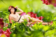 Free Beauty Young Woman In Green Grass Royalty Free Stock Photos - 19699358