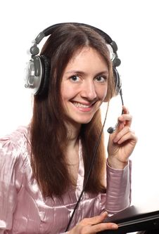Free Smiling Young Woman With Headphones And Laptop Stock Image - 19699691
