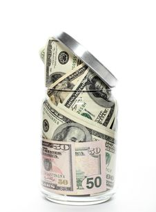 Dollars In A Glass Jar Royalty Free Stock Photo