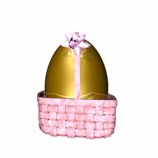 Free Golden Egg In Pink Easter Basket Stock Photo - 1970370