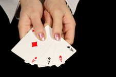 Free Four Aces In Female Hands On Black Royalty Free Stock Photos - 1972788